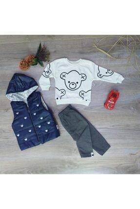Miniworld Hippıl Baby Erkek Bebek Kapüşonlu Yelekli 3'lü Takım-1244 0