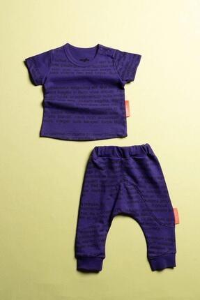 Moi Noi Unisex Bebek Mor  Desenli   Pantolonlu 2 Parça Takım 0