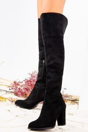 Fox Shoes Siyah Süet Kadın Çizme J674292002 0