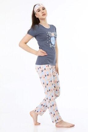 ModaPijama Manolya Kadın Gri Pamuklu Kısa Kollu Pijama Takımı 1