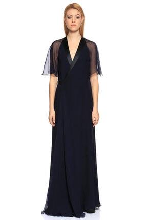 Lanvin V Yaka Uzun Lacivert Gece Elbisesi 0