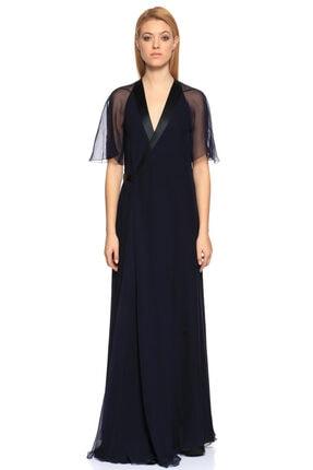 Lanvin V Yaka Uzun Lacivert Gece Elbisesi 1