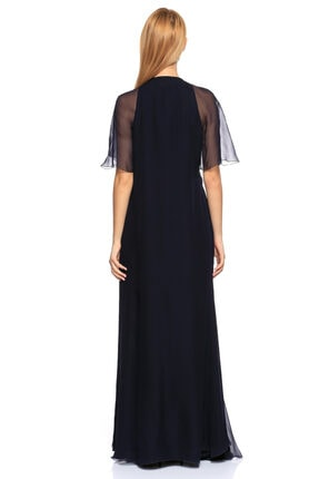 Lanvin V Yaka Uzun Lacivert Gece Elbisesi 3