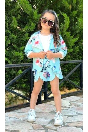 Riccotarz Kız Çocuk Blazer Ceketli Mavi Şortlu Takım 3