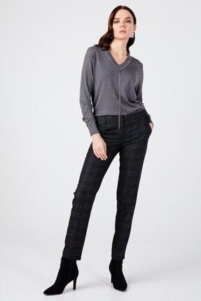 Ekol Kadın Siyah Simli Ekose Pantolon 3057 3