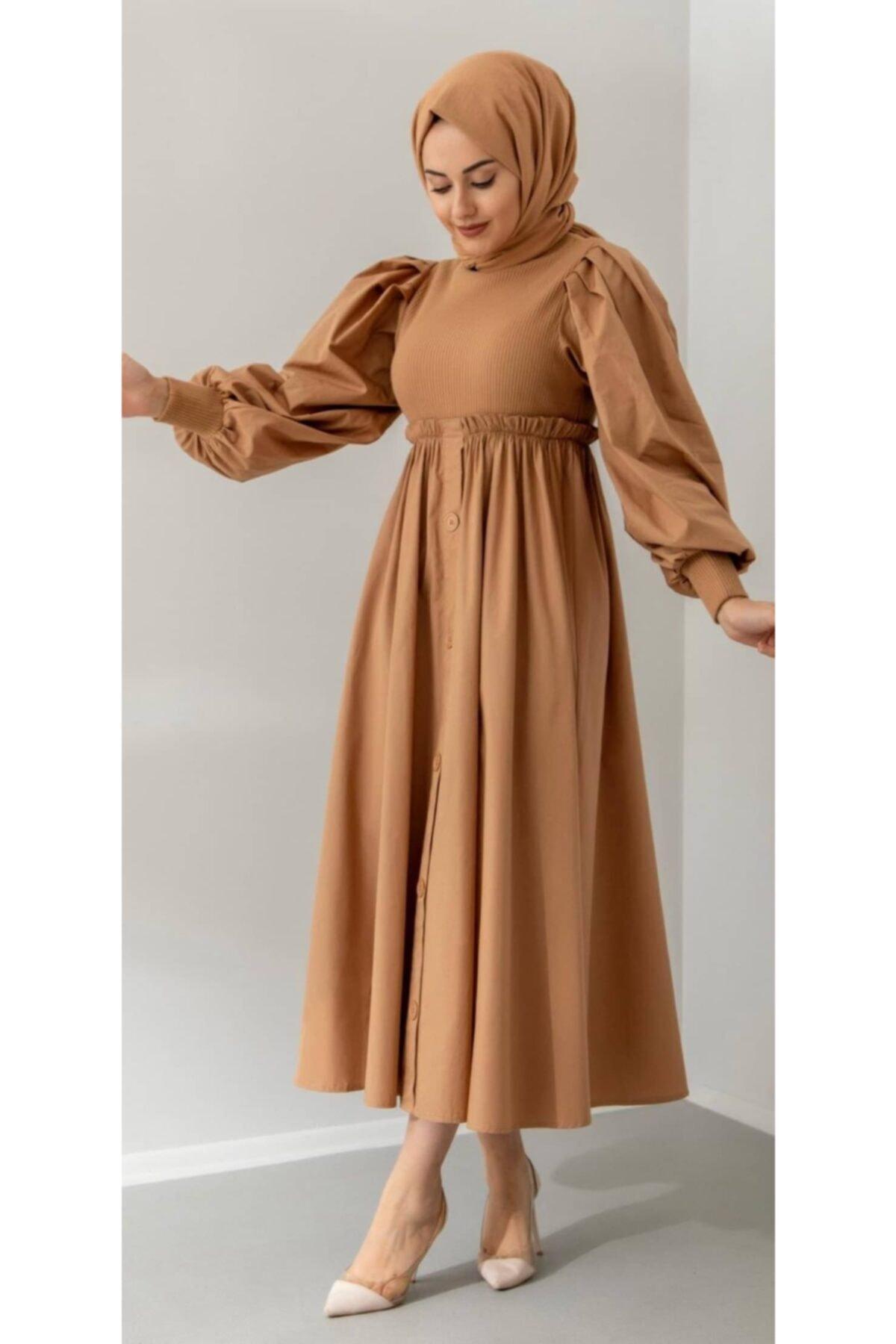 Önü Düğmeli Elibi Elbise