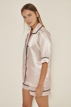 C&City Kadın  Pudra Saten Kısa Kol Şortlu Pijama Takım 040 1