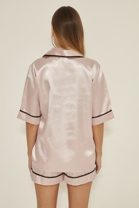 C&City Kadın  Pudra Saten Kısa Kol Şortlu Pijama Takım 040 4