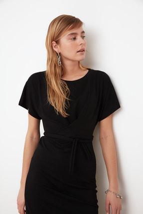 TRENDYOLMİLLA Siyah Bağlama Detaylı Örme Elbise TWOSS21EL0404 4