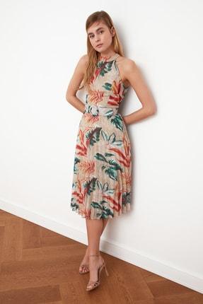 TRENDYOLMİLLA Çok Renkli Kemerli Desenli Elbise TWOSS20EL1341 1