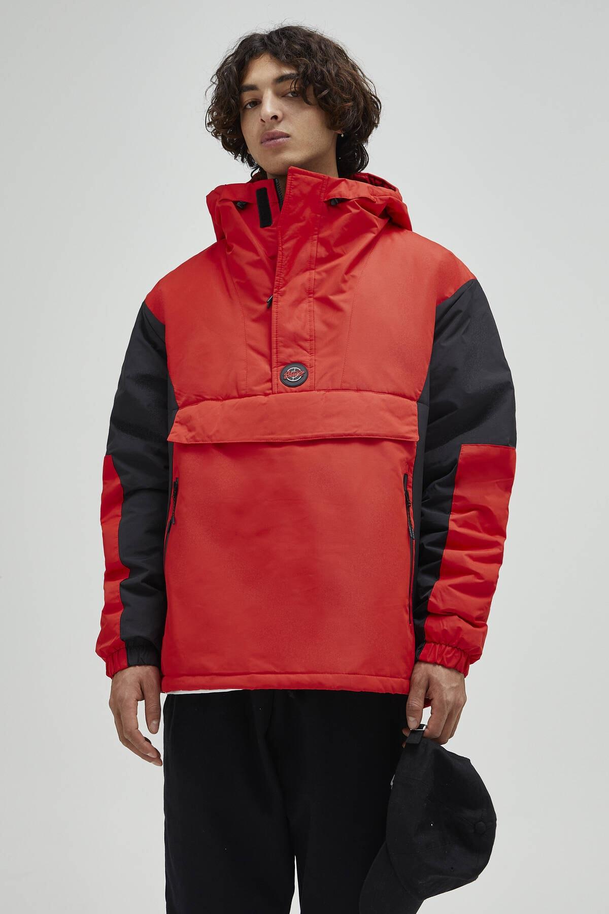 Pull & Bear Erkek Kırmızı Logolu Fermuarlı Kanguru Mont 09710526 0