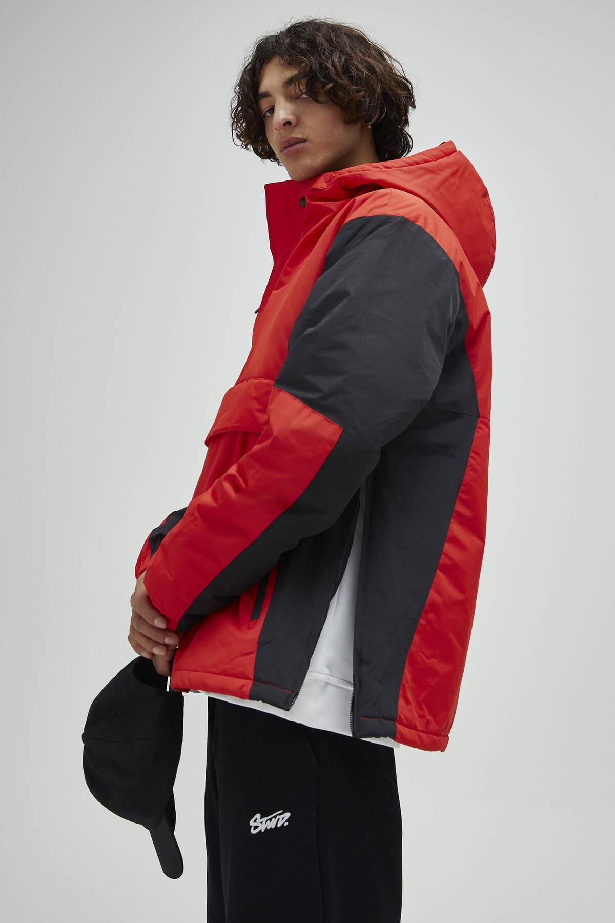 Pull & Bear Erkek Kırmızı Logolu Fermuarlı Kanguru Mont 09710526 1