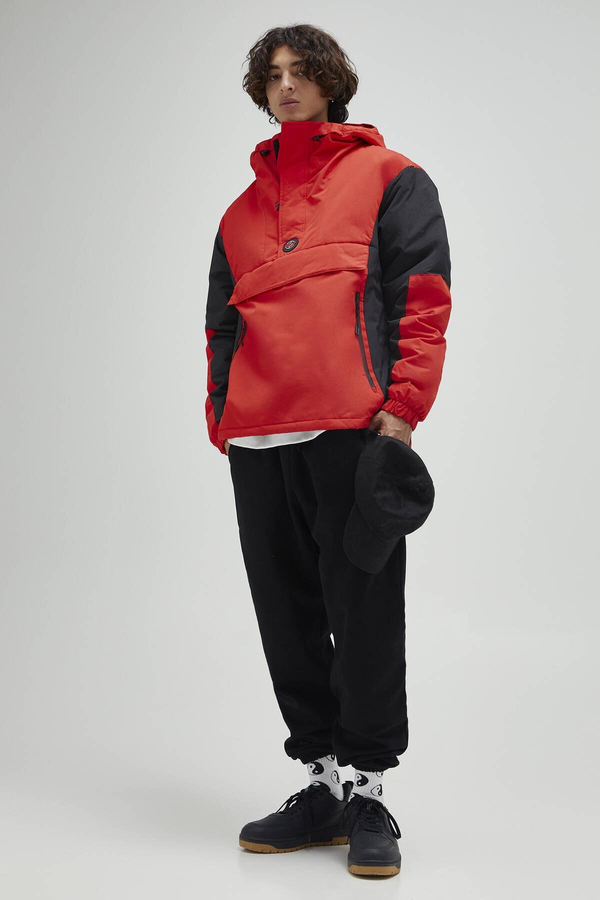 Pull & Bear Erkek Kırmızı Logolu Fermuarlı Kanguru Mont 09710526 2