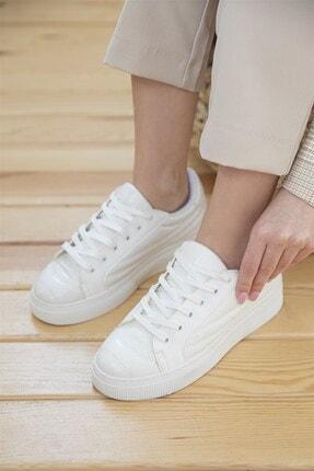 Straswans Kadın Beyaz Rugan Spor Ayakkabı 2
