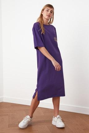 TRENDYOLMİLLA Mor Nakışlı Örme Elbise TWOSS21EL0175 4
