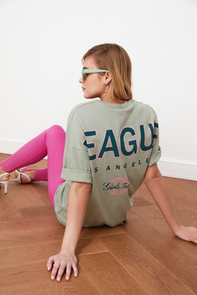 TRENDYOLMİLLA Mint Baskılı Oversize Örme T-Shirt TWOSS20TS0822 0