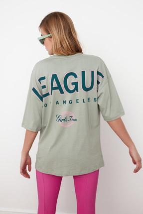 TRENDYOLMİLLA Mint Baskılı Oversize Örme T-Shirt TWOSS20TS0822 1