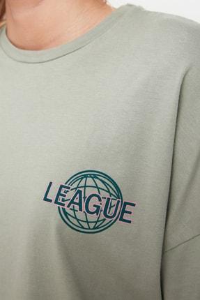 TRENDYOLMİLLA Mint Baskılı Oversize Örme T-Shirt TWOSS20TS0822 3