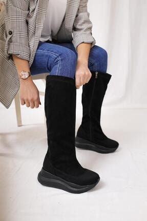 Zoie Siyah Geniş Konçlu Streç Çizme ( Spor Yağmur Çizmesi ) 20FZ1520