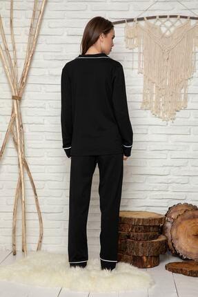 Miraten Kadın Siyah Düğmeli Uzun Kol Pamuklu Likralı Pijama Takım 2
