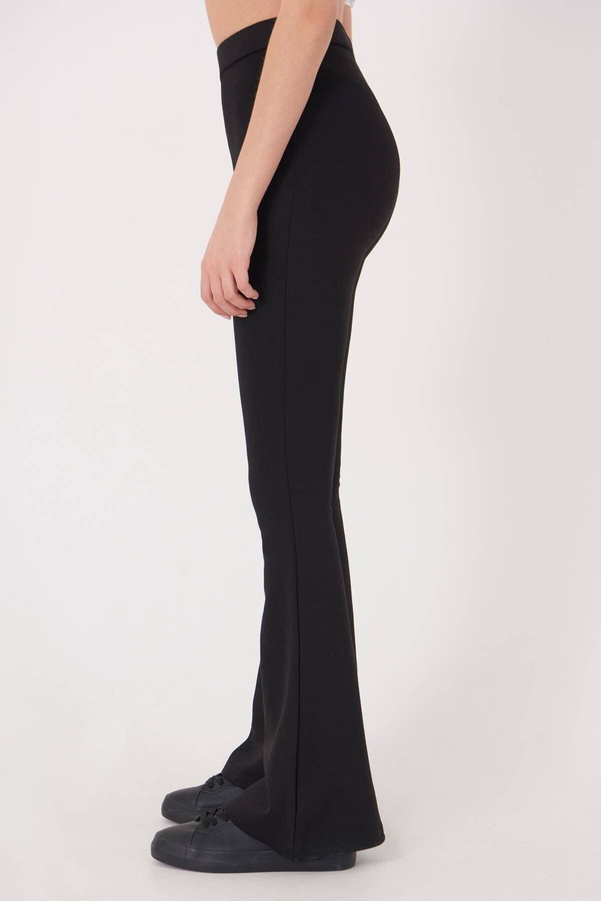 Addax Kadın Siyah İspanyol Paça Tayt Pantolon ADX-00012474 4