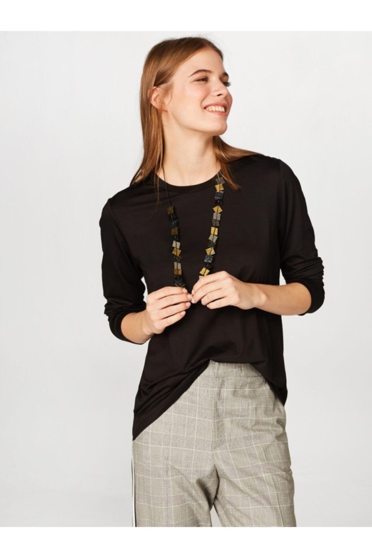 Kadın Yuvarlak Yaka Uzun Kol T-shirt