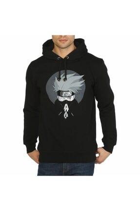 Bant Giyim - Naruto Kakashi Siyah Kapşonlu Erkek Sweatshirt 0