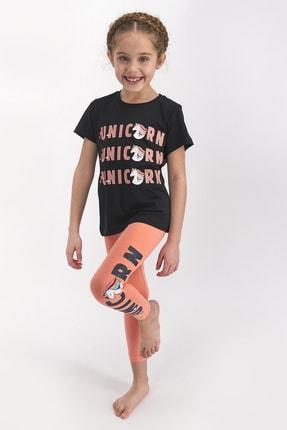 Rolypoly Kız Çocuk Kısa Kollu Uzun Tayt Takımı Sıyah 0