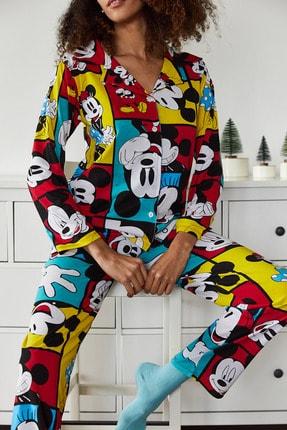 Xena Kadın Hardal Baskılı Pijama Takımı 1KZK8-10834-37 3