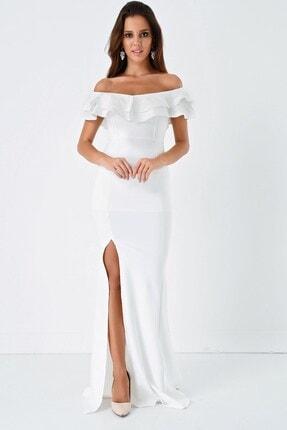 Modakapimda Fm Beyaz Volan Detaylı Yırtmaçlı Abiye Elbise 0