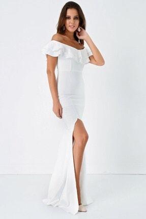 Modakapimda Fm Beyaz Volan Detaylı Yırtmaçlı Abiye Elbise 1