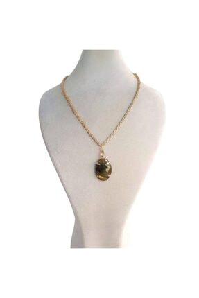 Haki Yeşil Akik Doğal Taşlı Altın Sarı Zincir Kadın Kolye Chbko126 CHBKO126