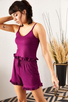 Olalook Kadın Mürdüm Askılı Fırfırlı Pijama Takımı TKM-19000076 1