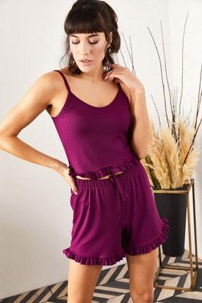 Olalook Kadın Mürdüm Askılı Fırfırlı Pijama Takımı TKM-19000076 2