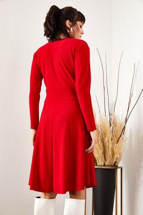 Olalook Kadın Kırmızı Kruvaze Elbise ELB-19000943 2