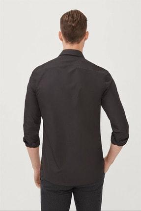 Avva Erkek Siyah Düz Klasik Yaka Slim Fit Gömlek E002002 2