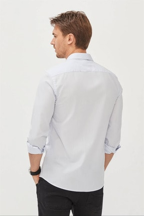 Avva Erkek Mavi Düz Klasik Yaka Slim Fit Gömlek E002002 2