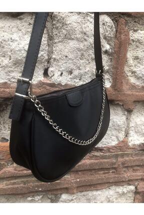 SWAN BOUTIQUE Kadın Siyah Ince Zincirli Baget Çanta 2