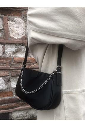 SWAN BOUTIQUE Kadın Siyah Ince Zincirli Baget Çanta 3