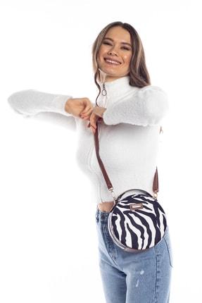 Madamra Aynı Butikte 2.Ürün 1 TL Zebra Desenli Kadın Yuvarlak Omuz Çantası 3