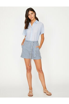 Koton Kadın Lacivert Klasik Yaka Çizgili Gömlek 8YAK62165CW 1