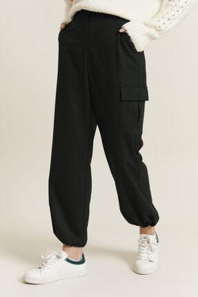 adL Kadın Yeşil Kargo Cepli Çizgili Pantolon 0