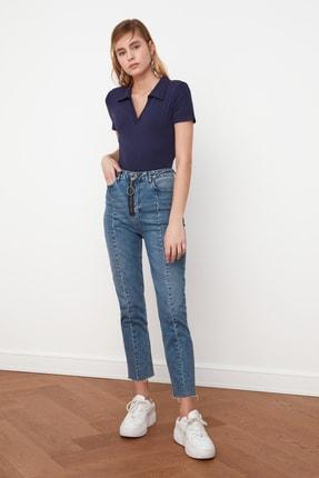 TRENDYOLMİLLA Lacivert Polo Yaka Crop Örme Bluz TWOSS21BZ0038 3