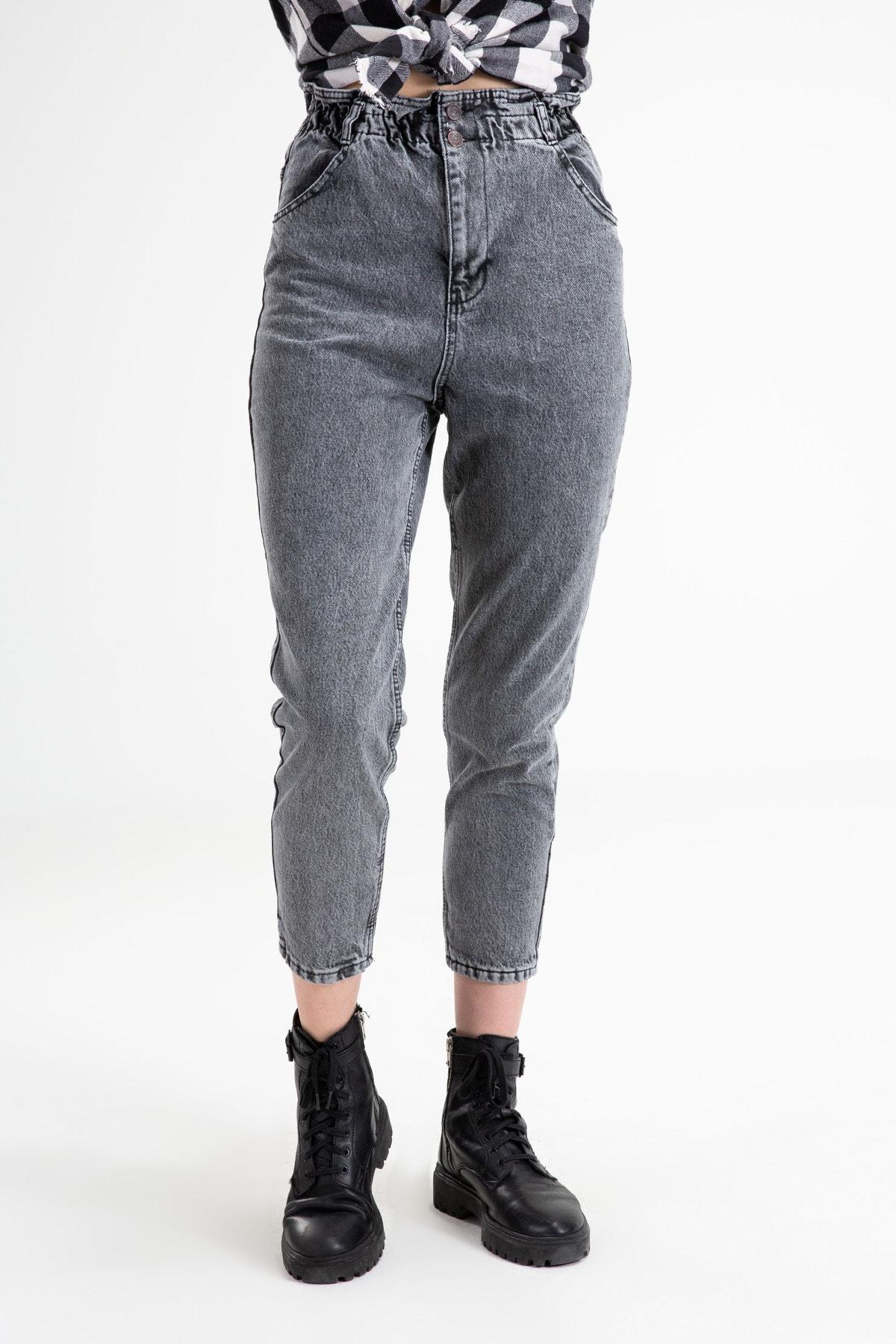 Beli Lastikli Gri Mom Jeans