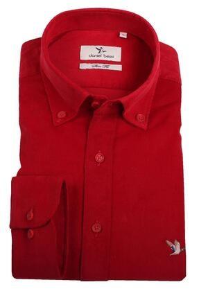 Daniel Bessi Slim Fit Uzun Kollu Düz Kırmızı Kadife Pamuk Erkek Gömlek 705-831 1