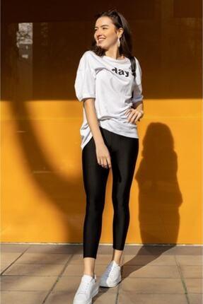 boffin Kadın Siyah Yüksek Bel Günlük Ve Sporda Kullanım Iç Göstermez Toparlayıcı Parlak Disco Tayt 1