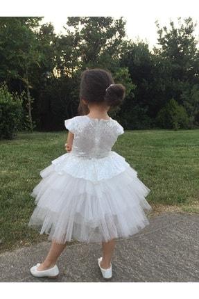 MiniBal Beyaz Pul Payet Tütülü Kız Çocuk Parti Elbisesi 1