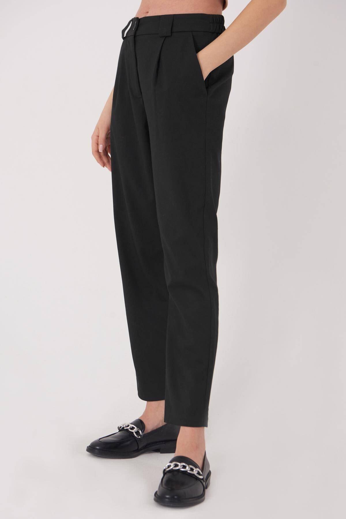 Addax Kadın Siyah Cep Detaylı Pantolon Pn8096 - E6 Adx-0000023579 1