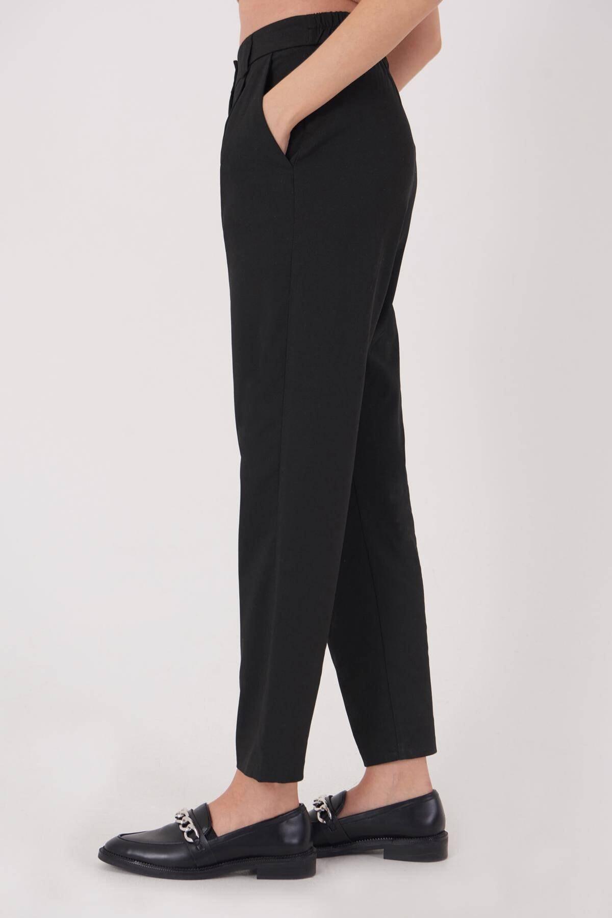Addax Kadın Siyah Cep Detaylı Pantolon Pn8096 - E6 Adx-0000023579 3