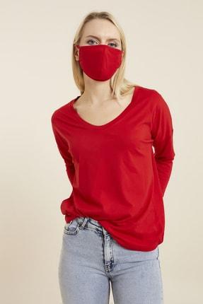 Hanna's Kadın Kırmızı Geniş Yakalı Basic T-shirt 3